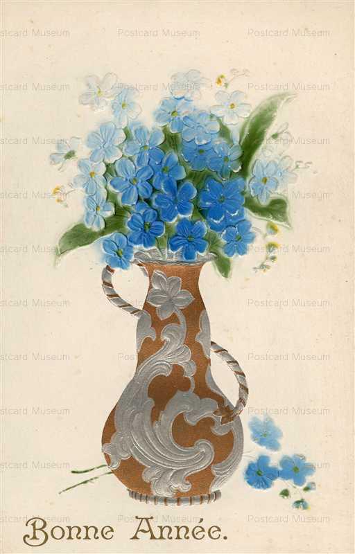 em801-French Flowers in Fancy Vases Bonne Annee