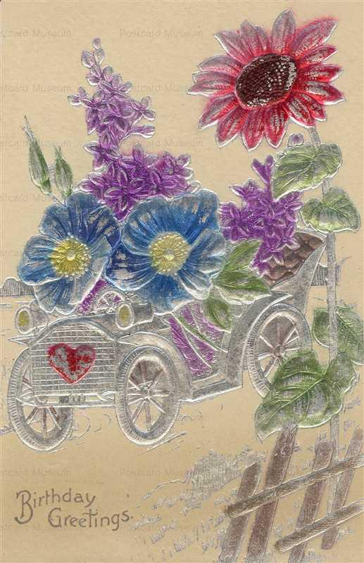 em842-Birthday Car Flower Emboss