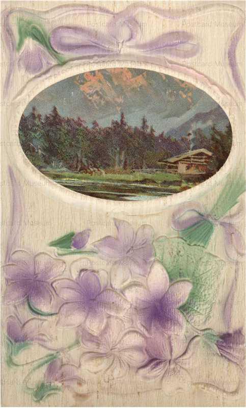 em845-Purple Flower Emboss