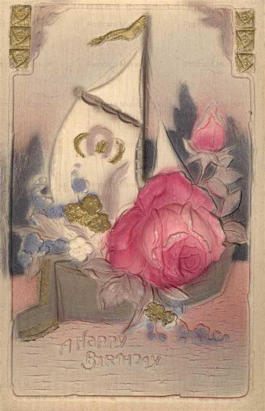 em846-Birthday Flower Yacht Emboss