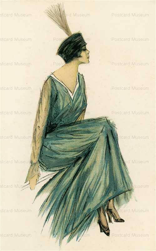fa122-Blue Dress Glamour Italian Art Deco