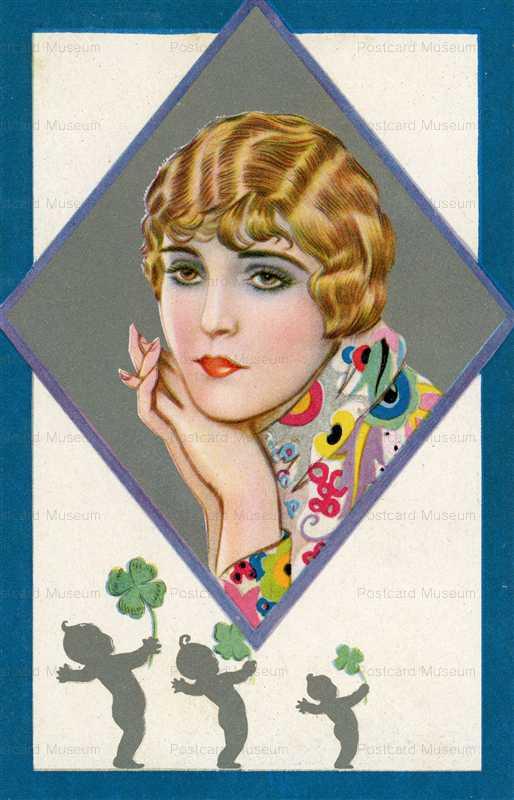 fa450-Art Deco 1920's Woman in Silver Frame