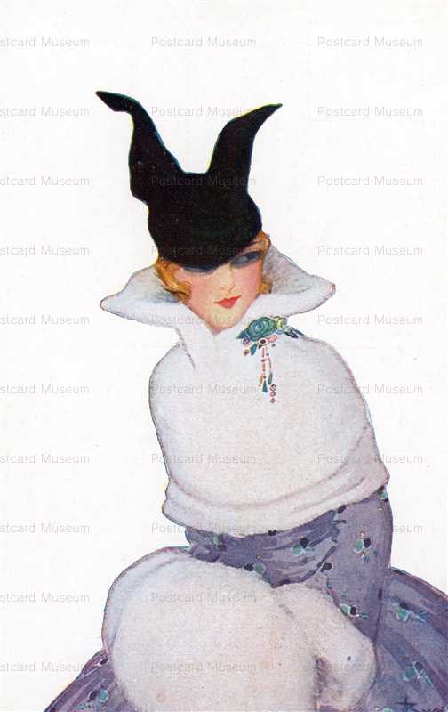 fa460-Woman with White Fur Black Hat