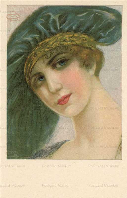 fa505-GB Girl in Green Hat