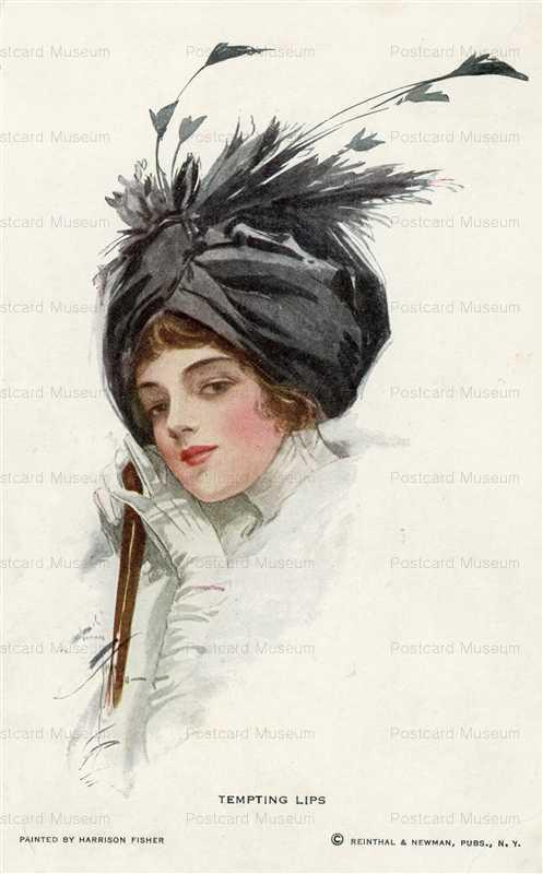 fa510-Harrison Fisher Fancy Hat Woman Temping Lips