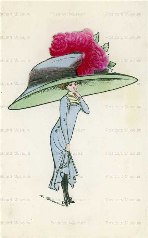 fa530-Large Hat with Roses Lady