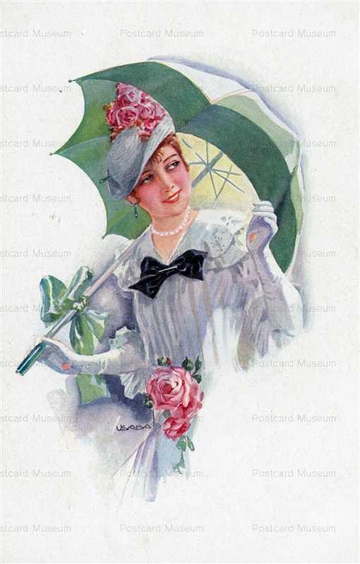 fa570-Usabal Beautiful Woman with Green Umbrella