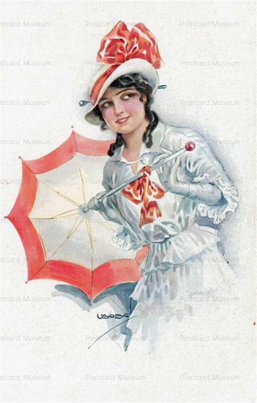 fa575-Usabal Beautiful Woman with Red Umbrella