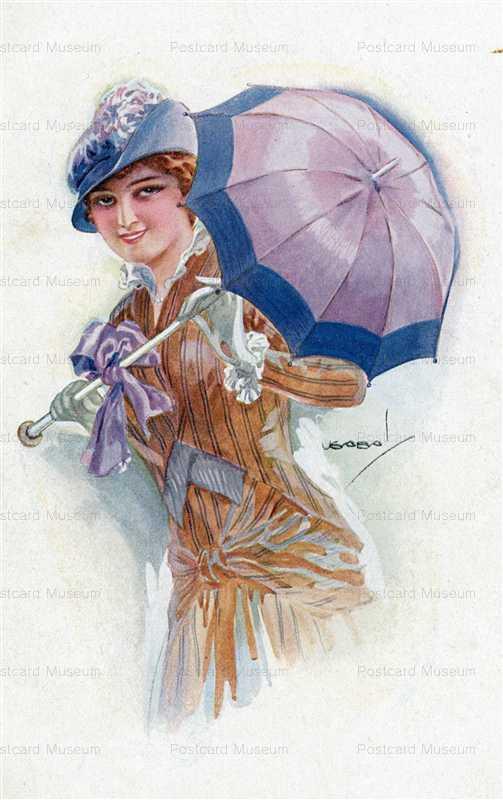 fa580-Usabal Beautiful Woman with Purple Umbrella