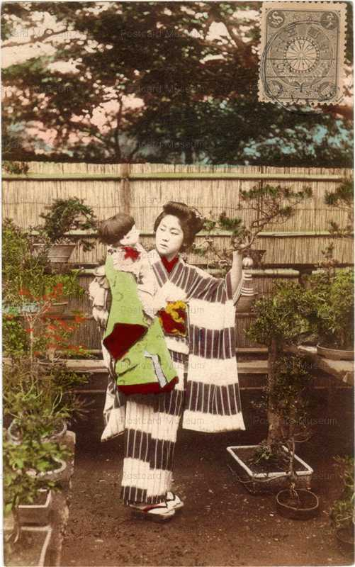 fi014-市松人形 美人 盆栽