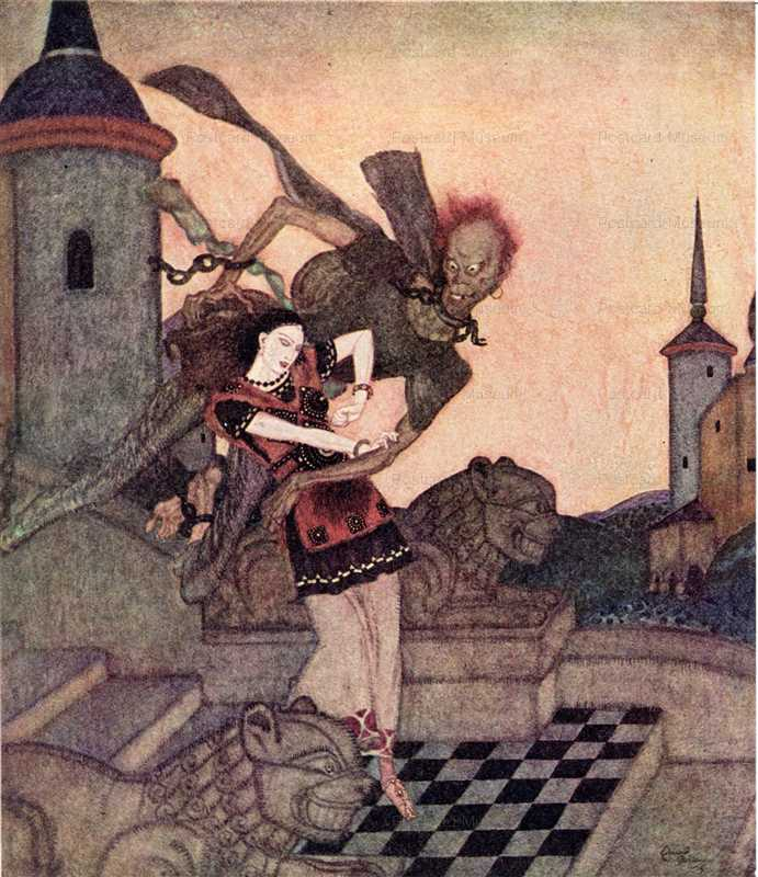 fo133-Edmond Dulac the Story of Bashtchelik Fairy Book