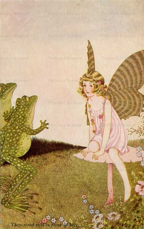 fo155-Ida Rentoul Outhwaite They Stood in Front of Her Fairy Girl & Frogs