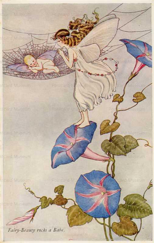 fo205-Ida Rentoul Outhwaite Fairy-Beauty Rocks a Babe
