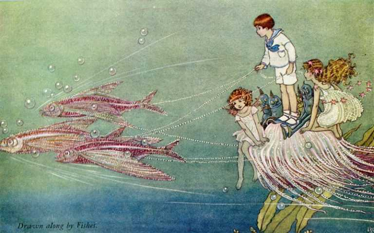 fo210-Ida Rentoul Outhwaite Drawn Along by Fishes