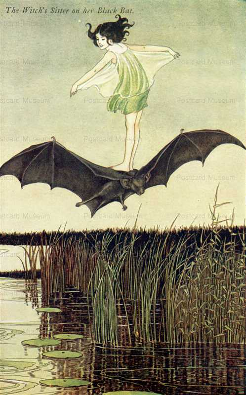 fo225-Ida Rentoul Outhwaite Witch's Sister on Her Black Bat