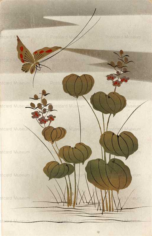 kfg840-蝶と花 金漆