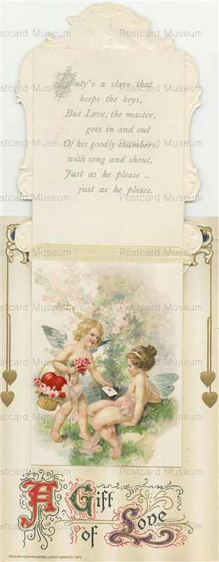 mx030-Valentine Winsch lady on a silk heart Opens Cupid inside