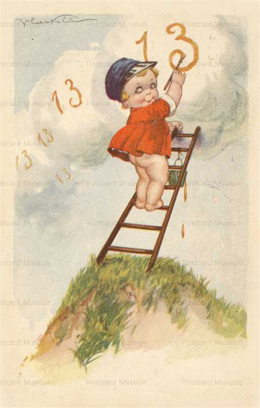 qb035-Writing Baby at Ladder