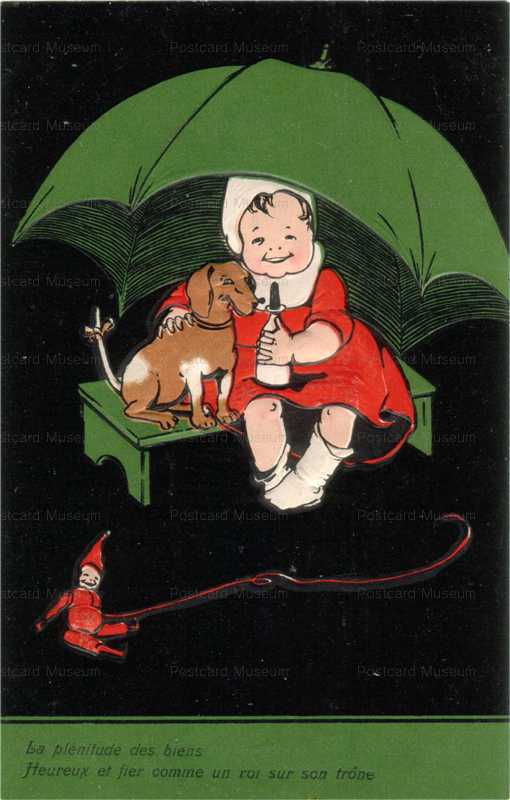 qb065-Children Dachshund Doll Clown French Embossed Umbrella