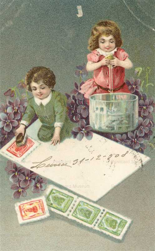 qb109-Philatelic Postcard Child Pasting Stamps on Cover