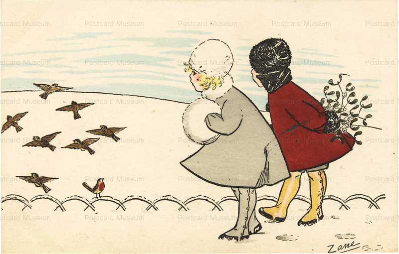 qb160-Zani Girls Watching Flying Birds