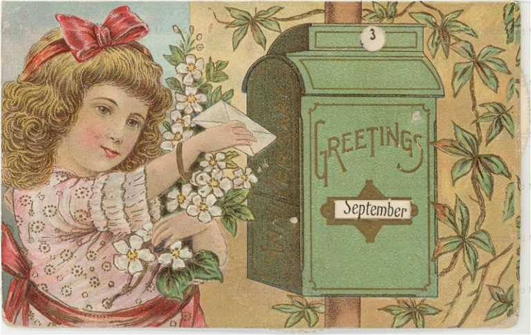 qb540-M593 Girl By Mailbox Mechanicial Calendar