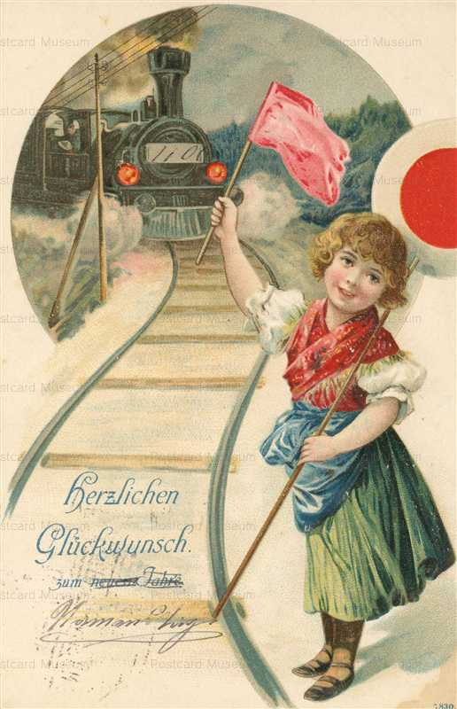 qb590-Young Girl as Station Master