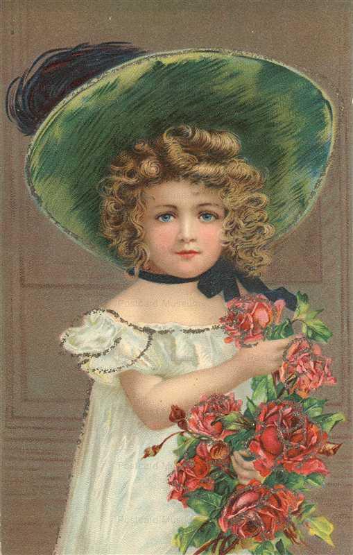 qb630-Little Girl in Big Green Hat Glitter Applique