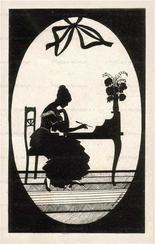 sib015-Writing Letter Lady Silhouette