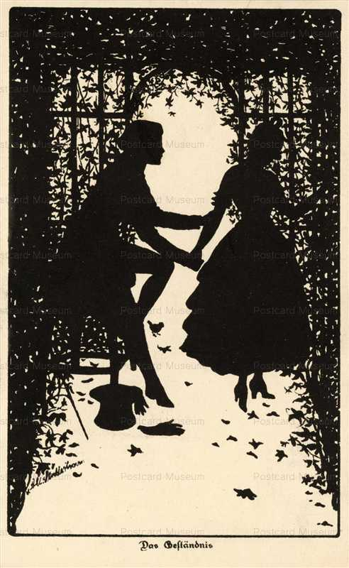 sib040-Lovers in Garden Silhouette