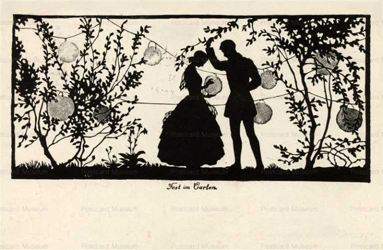 sib045-Couple with Chinese Lanterns Silhouette