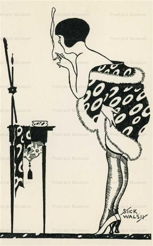 sib255-Stick Walsh Woman in Robe Smoking Looking in Mirror