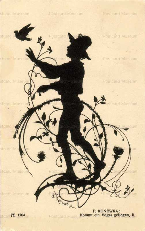 sib540-Boy with Dove Silhouette