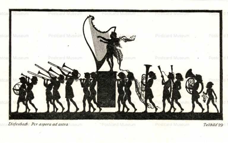 sib568-Silhouette Diefenbach Fidus Art Fairy Musicians Procession