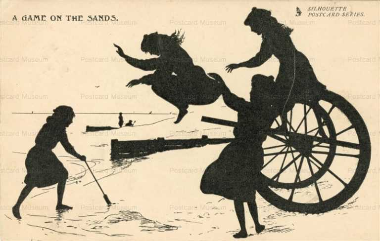 sib640-Silhouette Girls on Sands Tuck Art