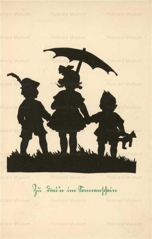 sib664-Silhouette Children with Umbrella & Teddy Bear