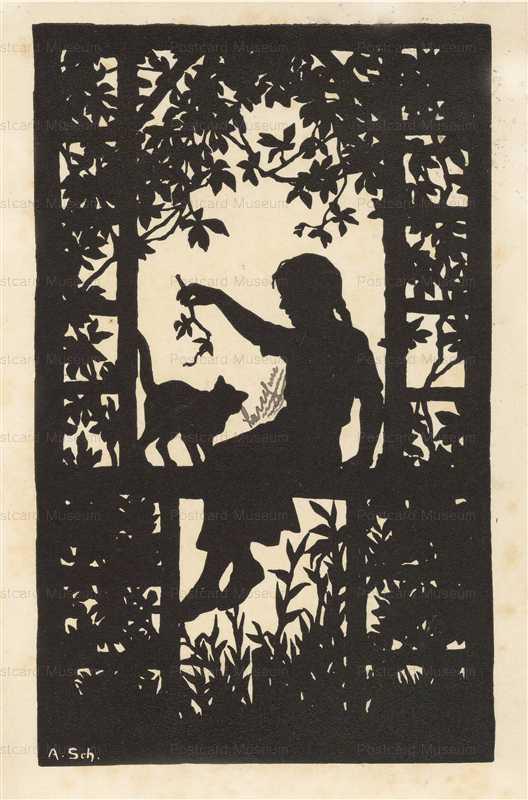 sib720-Anna Schirmer Girl im Garten Mit Cat