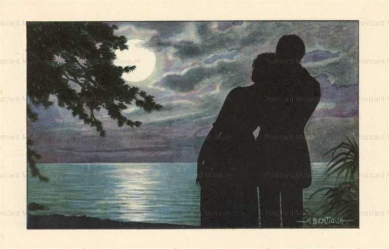 sic040-Aurelio Bertiglia Silhouette of lovers in Moonlight