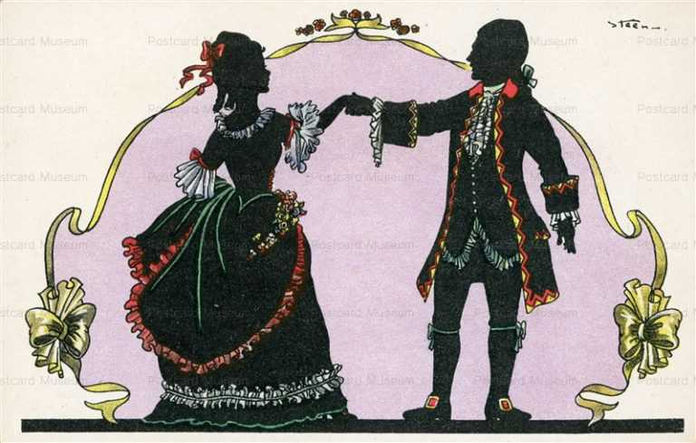 sic088-Silhouette Steen 18th Century Romantic Couple