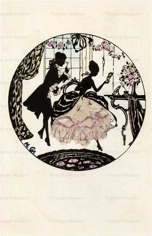 sic091-Silhouette Victorian Couples Silk on Dress Hand Mirror
