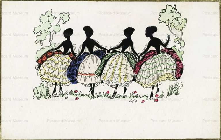 sic110-Ladies in Fancy Dresses Silhouette
