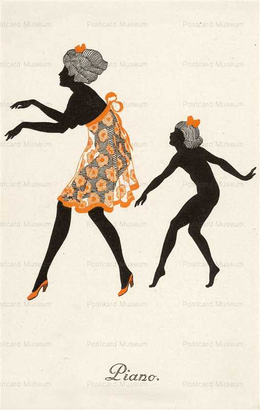sic220-Silhouette Piano Deco Dancing Lady & Girl Pub