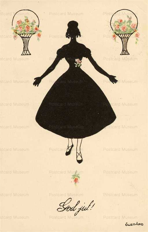 sic230-Silhouette Deco Lady with Flowers
