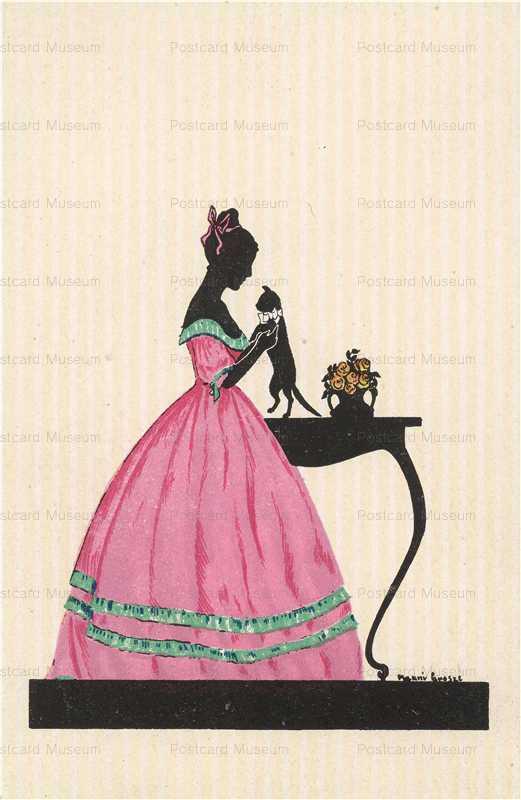 sic310-Manni Grosze Pink Dress Woman Holds a Cat