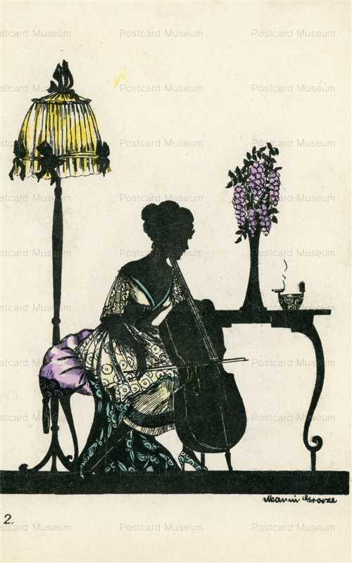 sic360-Manni Grosze Art Deco Woman Plays Cello Silhouette