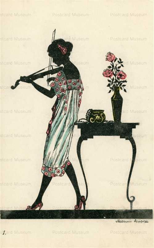 sic365-Manni Grosze Art Deco Woman Plays Violin Silhouette