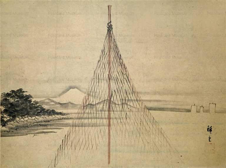 uzo110-広重 干網のある遠く富士の見える海辺