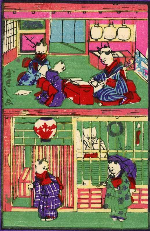 uzo370-おもちゃ繪 三味線の稽古 傘