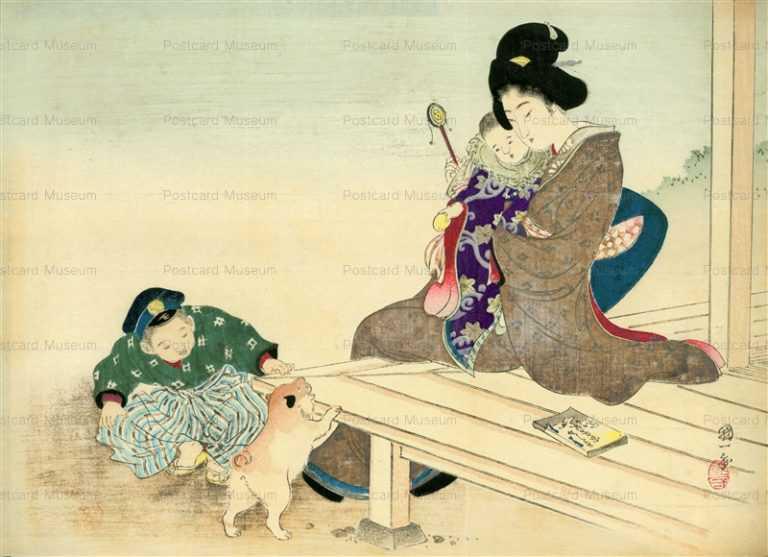 uzo520-歌川国一 親子と子犬
