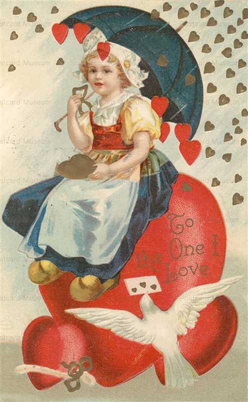 v155-Hearts Dove Letter Umbrella